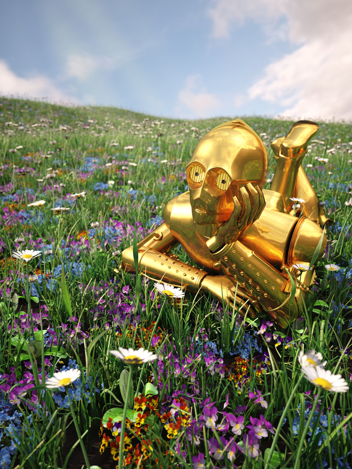 C-3PO Laying In A Field
