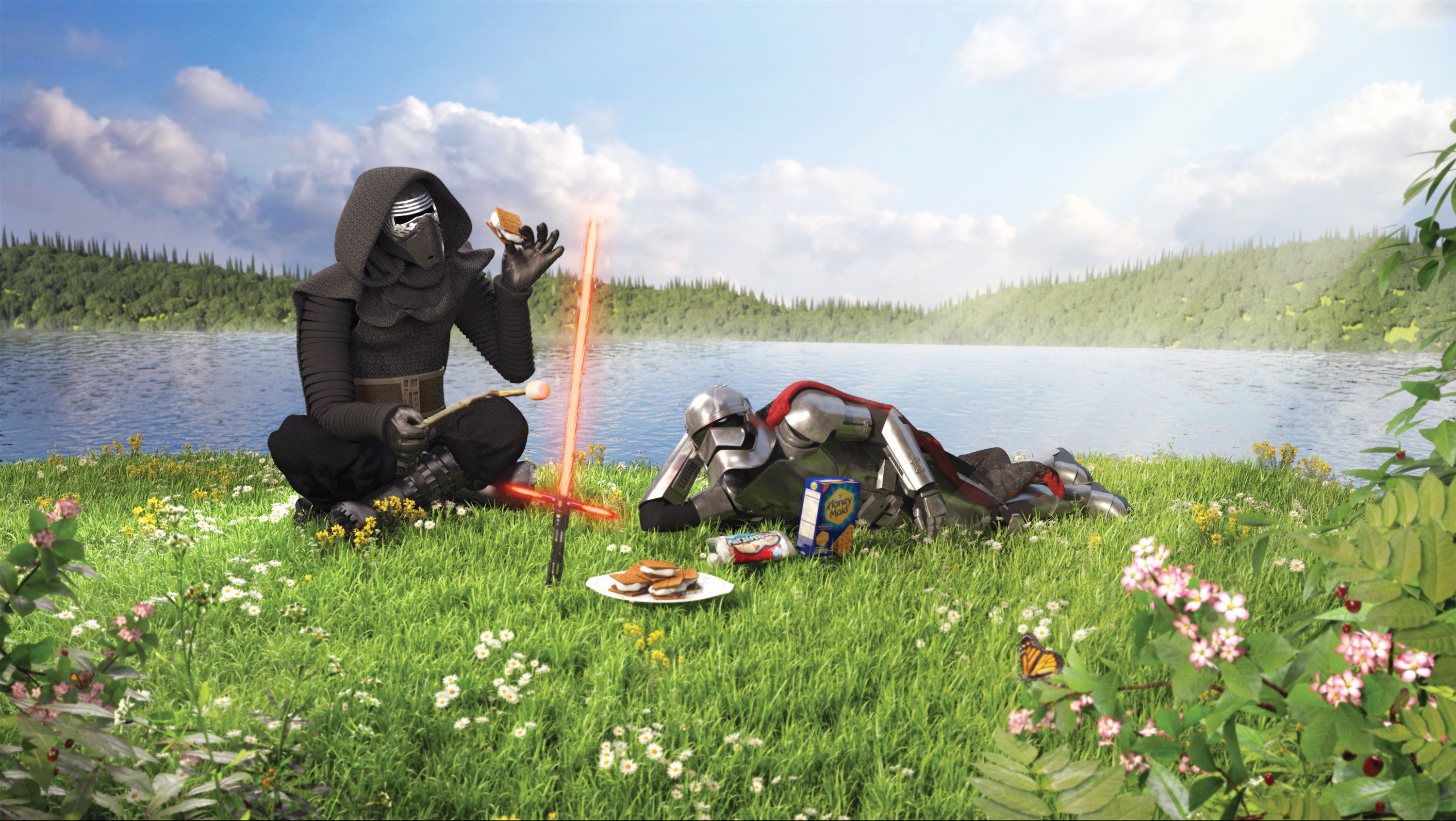 Kylo Ren and Captain Phasma Eating S'Mores